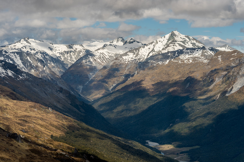 View into the head of the Dart River and Cattle Flat from the spur below Seal Col, Barrier Range. The most prominent peaks on the skyline are Mount Ansted, Mount Tyndall, Headlong Peak.