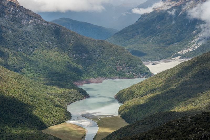 View of the Dart River and the lake from the spur below Seal Col. Sandy Bluff is at centre image