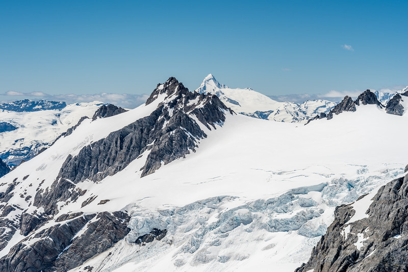 View from Blockade Peak: Memorial Icefall, Passchendaele Peak and Tititea / Mount Aspiring.