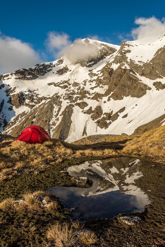 Campsite at the head of Blockade Stream. Blockade Peak above