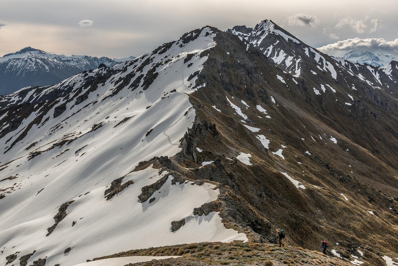Buchanan Middle Peak (1905m) and High Peak (2004m) from the summit of the Low Peak (1880m). Black Peak back left