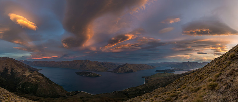 Sunset on Daniels Spur, high above Lake Wanaka