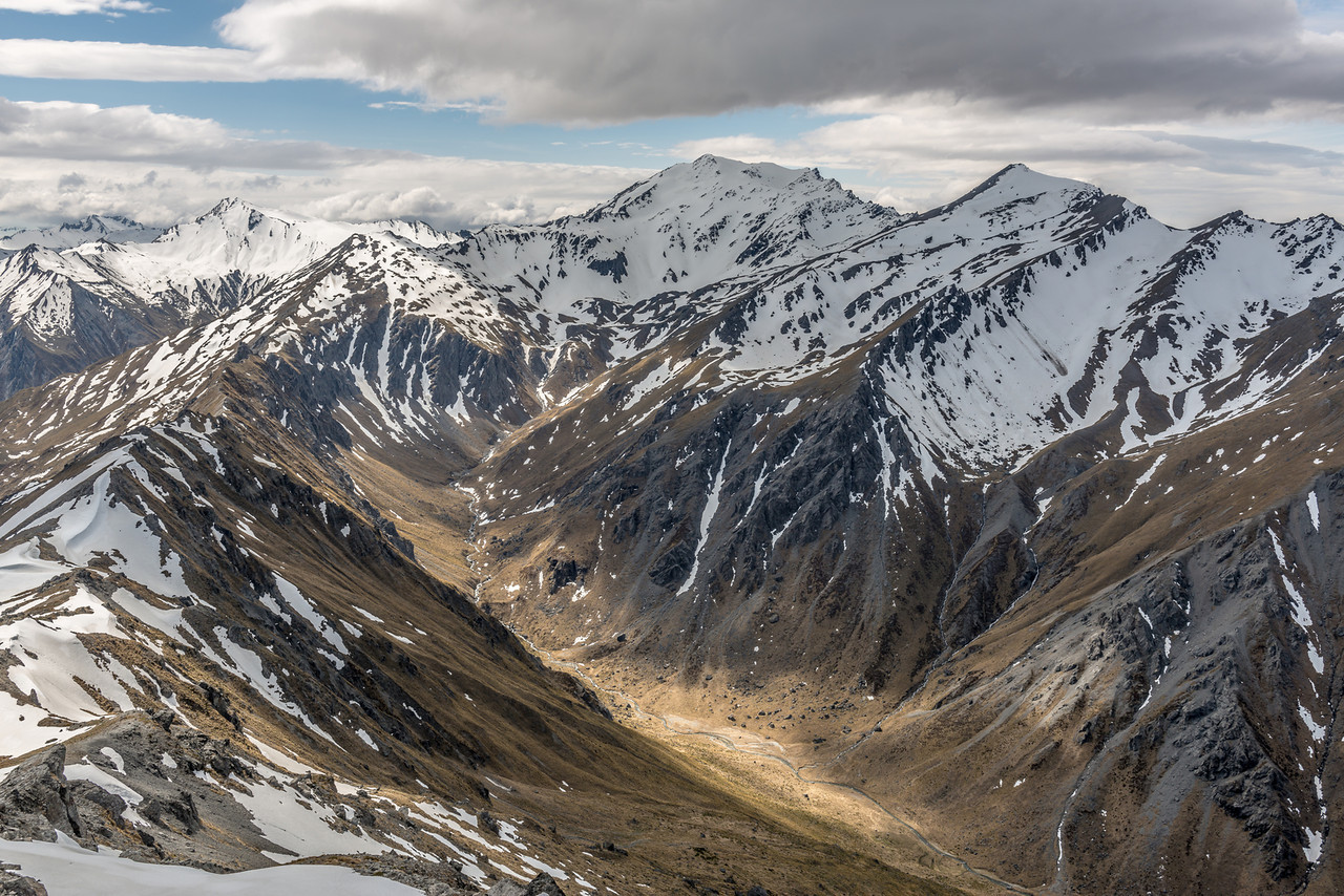 View from the Buchanan High Peak: Rumbling Burn, Mount Alta and Triple Peak (back left)