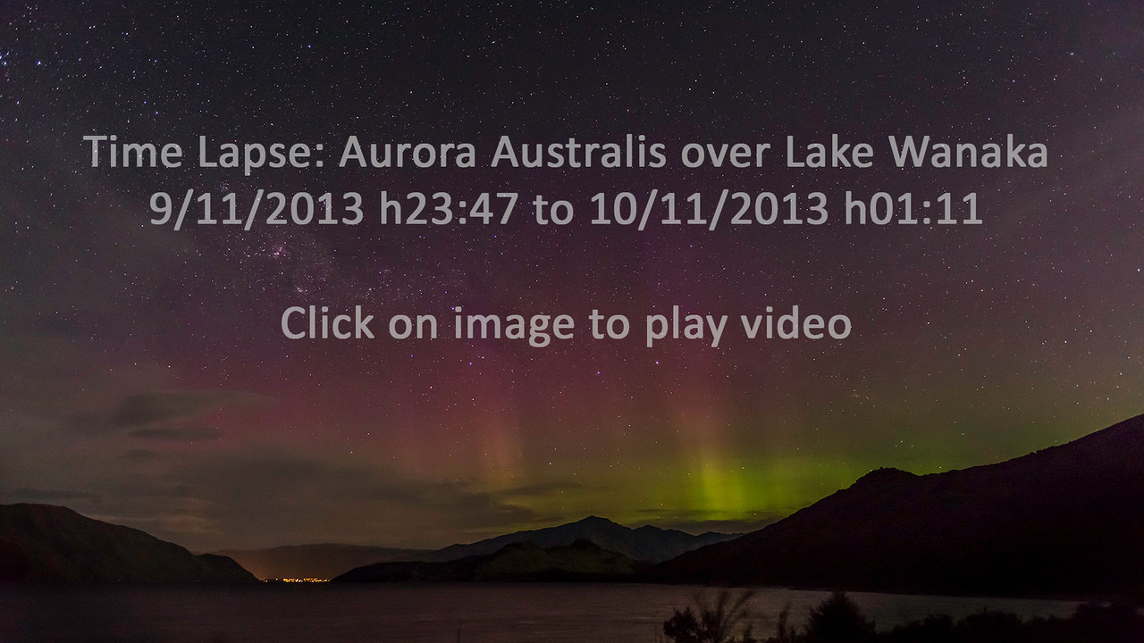 Time lapse: aurora australis over Lake Wanaka, from the mouth of the Rumbling Burn