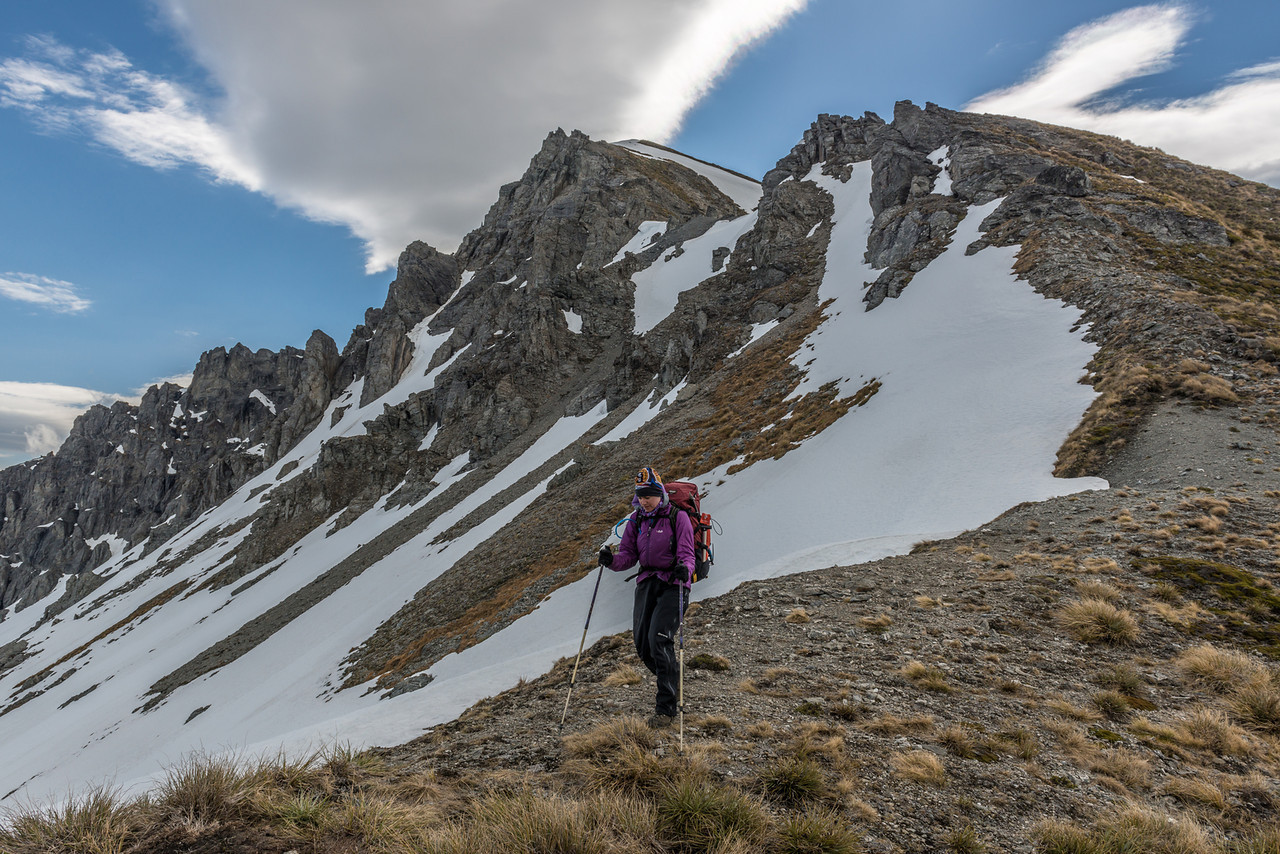 Descending the east ridge of the Buchanan High Peak