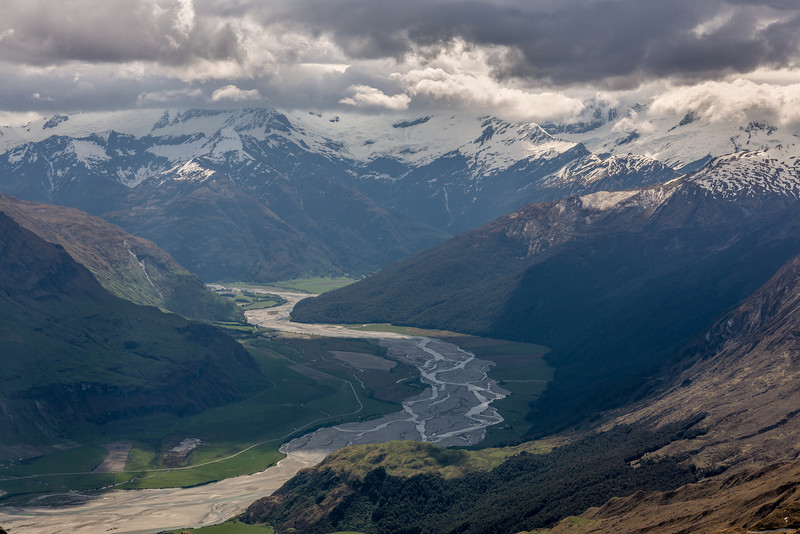 View up the Matukituki River from the Buchanan High Peak