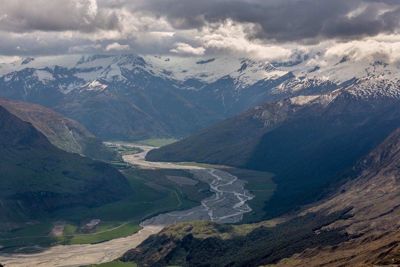 View up the Matukituki River from the Buchanan High Peak
