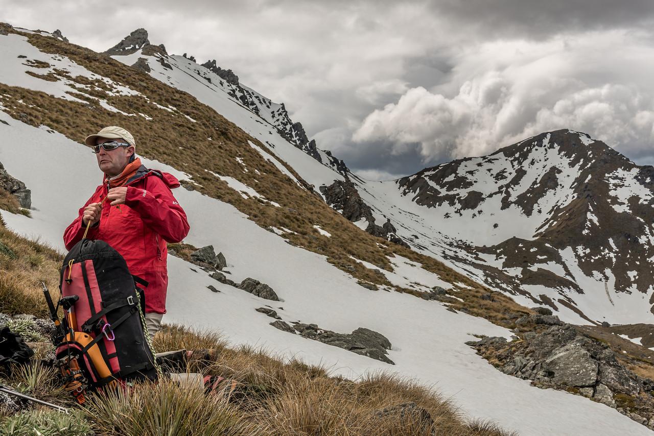 Aaron high up on the south-west ridge of the Buchanan Peaks