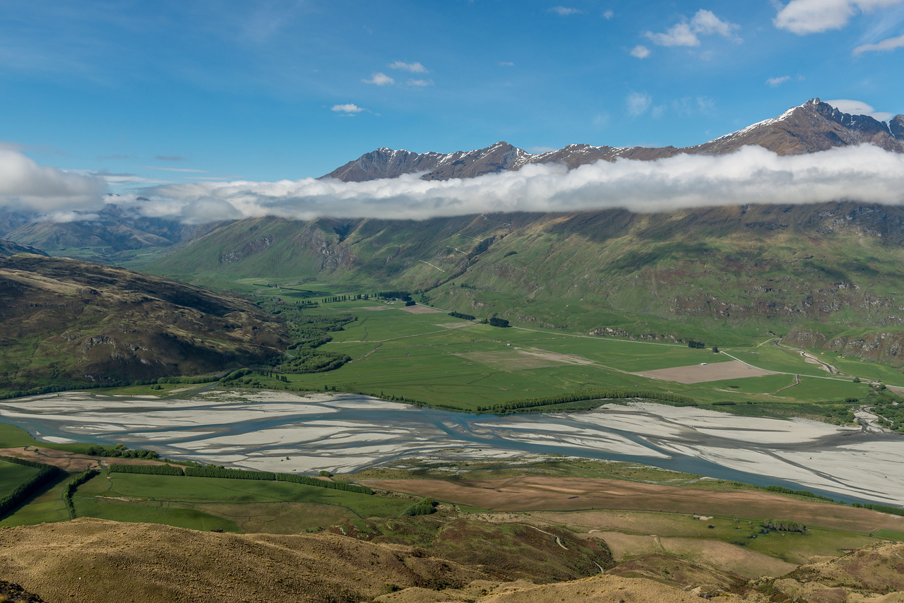 Matukituki River and Motatapu River from the Buchanan Peaks' southern slopes. End Peak and Treble Cone above