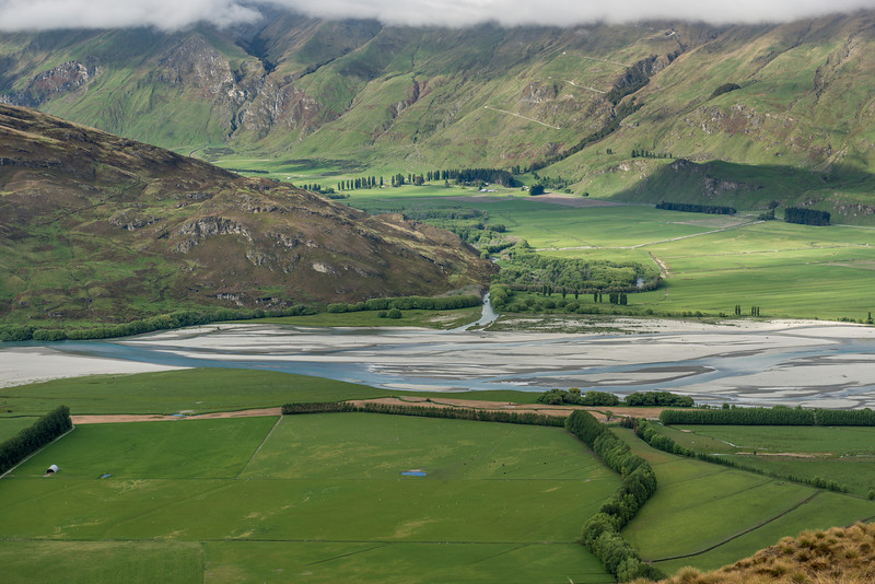 The junction of the Matukituki River and the Motatapu River, with the road to Treble Cone above