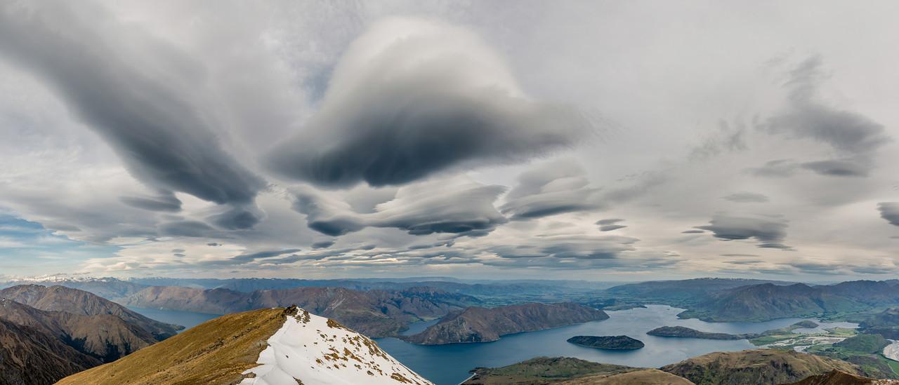 Lake Wanaka panorama from the Buchanan Low Peak
