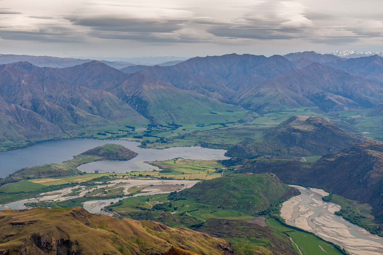 View of Lake Wanaka (Paddock Bay and Glendhu Bay) and the Matukituki River mouth from the Buchanan Low Peak