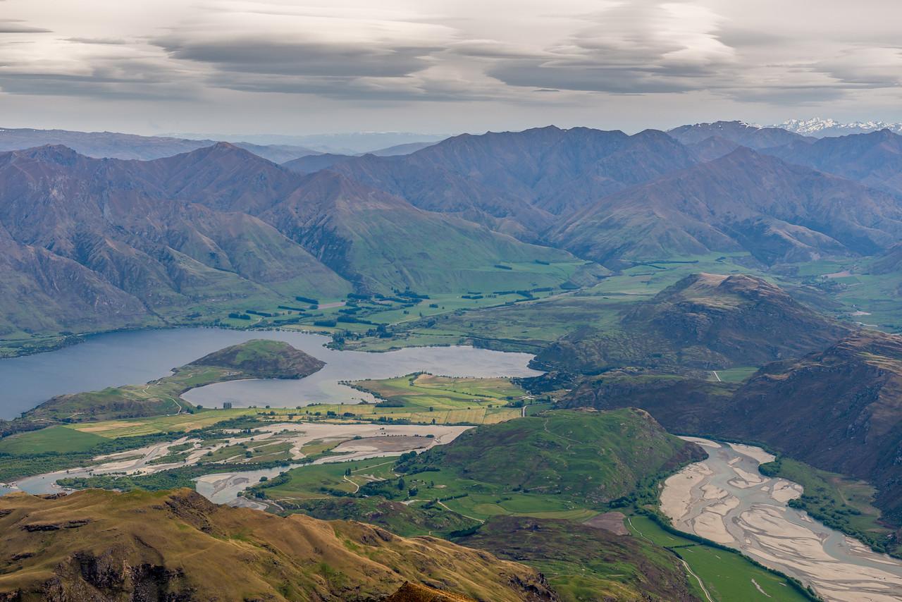View of Lake Wanaka (Paddock Bay and Glendhu Bay) and the Matukituki River mouth from the Buchanan Low Peak