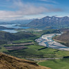 Lake Wanaka and the Matukituki River from the Buchanan Peaks' southern slopes. Roys Peak and Mount Alpha on the right