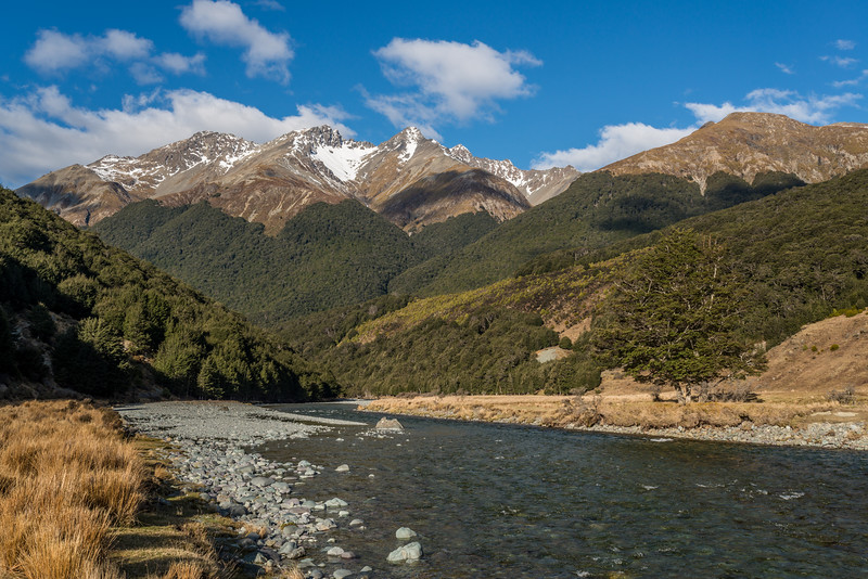 Greenstone River. The Thomson Mountains above.