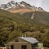 McKellar Hut (Greenstone Track), with Pt 1999m (Ailsa Mountains) above