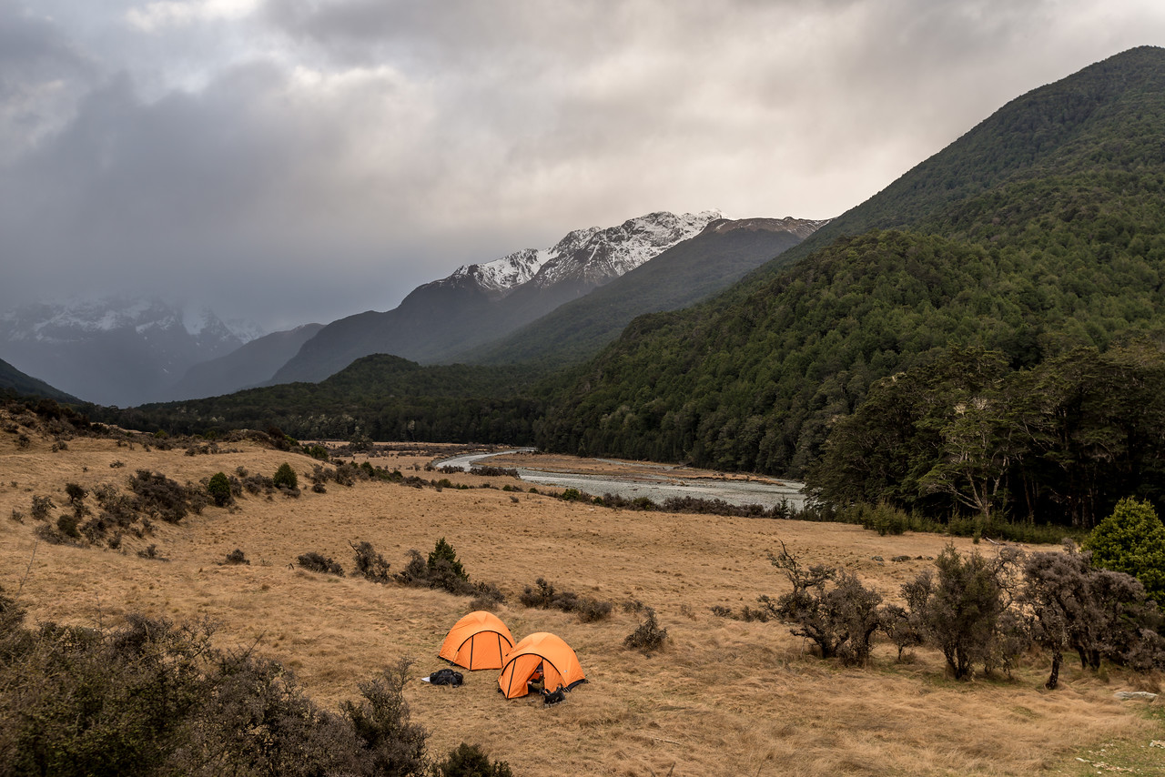 Campsite at Mid Caples Hut, Caples Track