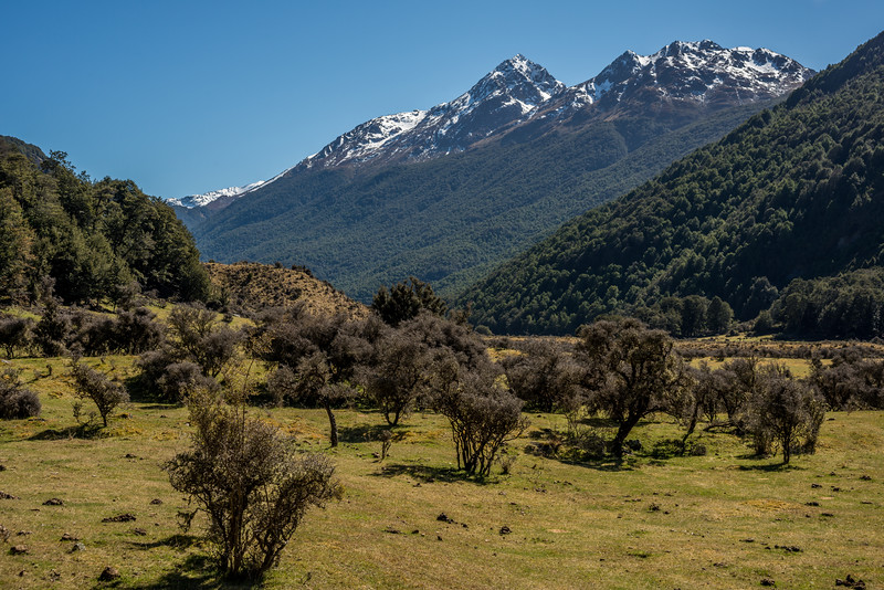 View up the Caples Valley from the confluence of the Greenstone and Caples Rivers. The Humboldt Mountains above