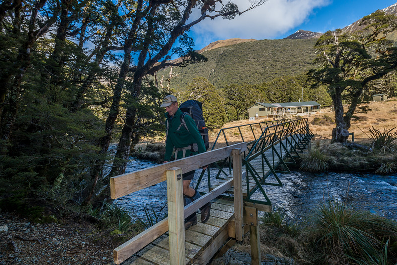 Crossing the bridge over the Greenstone River by McKellar Hut