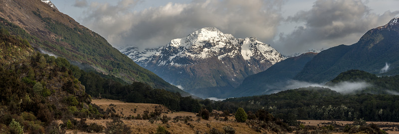 Early morning at Mid Caples Hut. Pt 1760m rises above the lower Caples valley