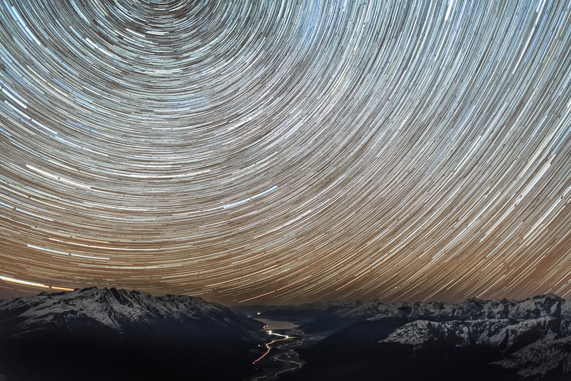 Star trails over the Makarora River