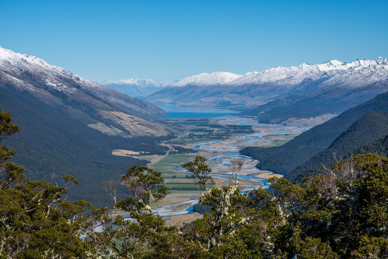 View down the Makarora River and Lake Wanaka from the SW ridge of Castle Hill