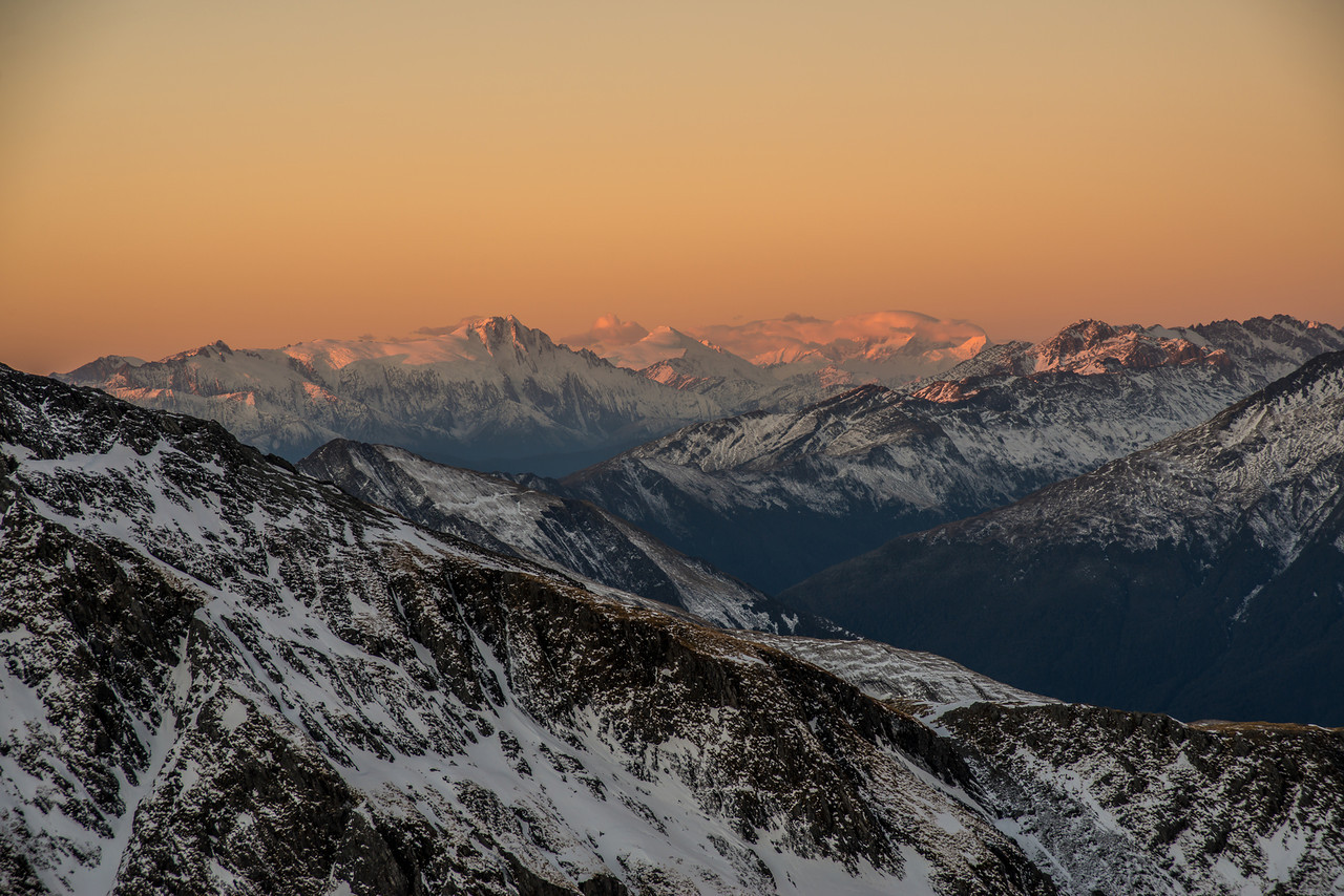 Mt Hooker, Mt Dechen and Mt Cook (the latter is in cloud)