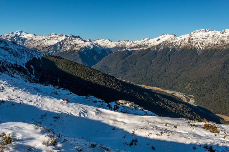 Makarora River trops from the SW ridge of Castle Hill. Mt Brewster on the far left