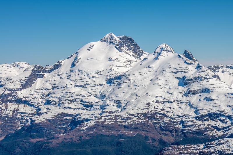 Mount Earnslaw, O'Leary Peak and Pluto Peak from Cleft Peak.
