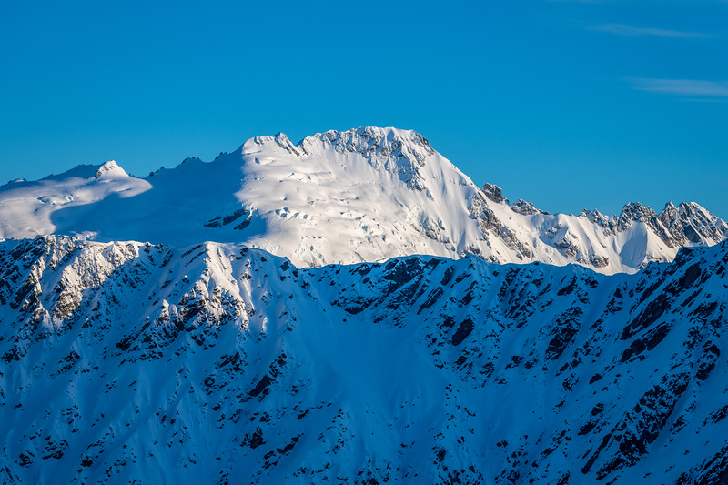 Bernard Peak and Mount Ian from the slopes of Cleft Peak.