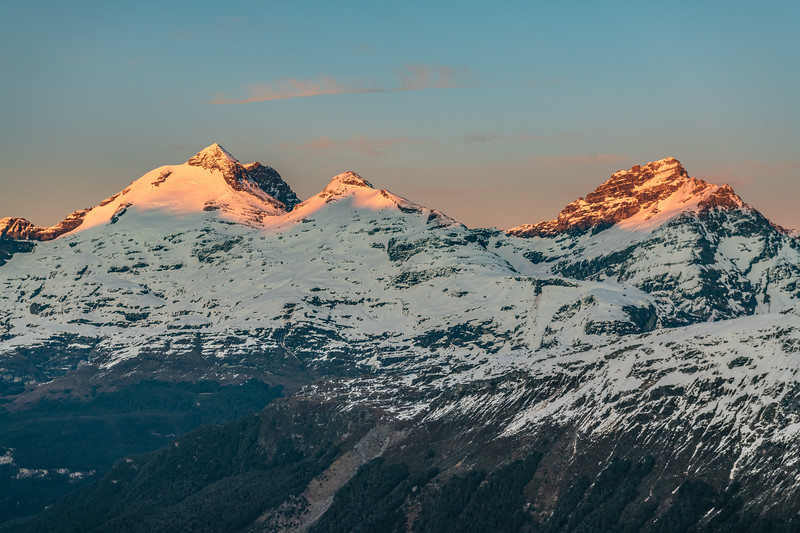Mount Earnslaw, O'Leary Peak and Sir William Peak from the slopes of Cleft Peak.