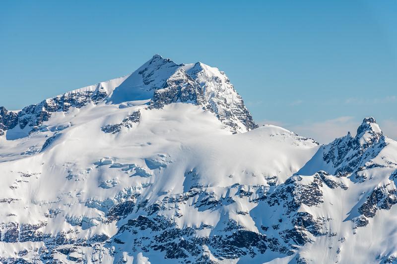Mount Head, Moira Peak and OSONZAC Twins from Cleft Peak.