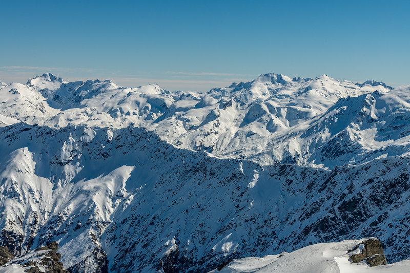 View of the Olivines from Cleft Peak. From left to right are Albert Peak and the Barrier Range, Mount Gates, Climax Peak, Destiny Peak, Ark.