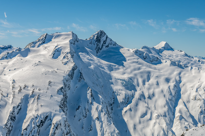 Headlong Peak, Mount Tewha and Mount Tyndall from Cleft Peak