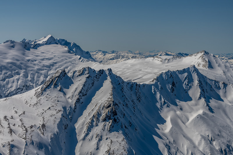 Mount Tyndall, Mount Hooker, Mount Dechen and Aoraki / Mount Cook from Lochnagar