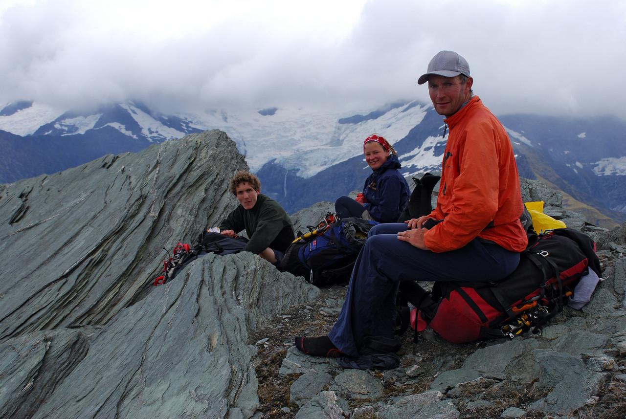 Jono, Nina, Aaron on the summit of Mt Eostre.