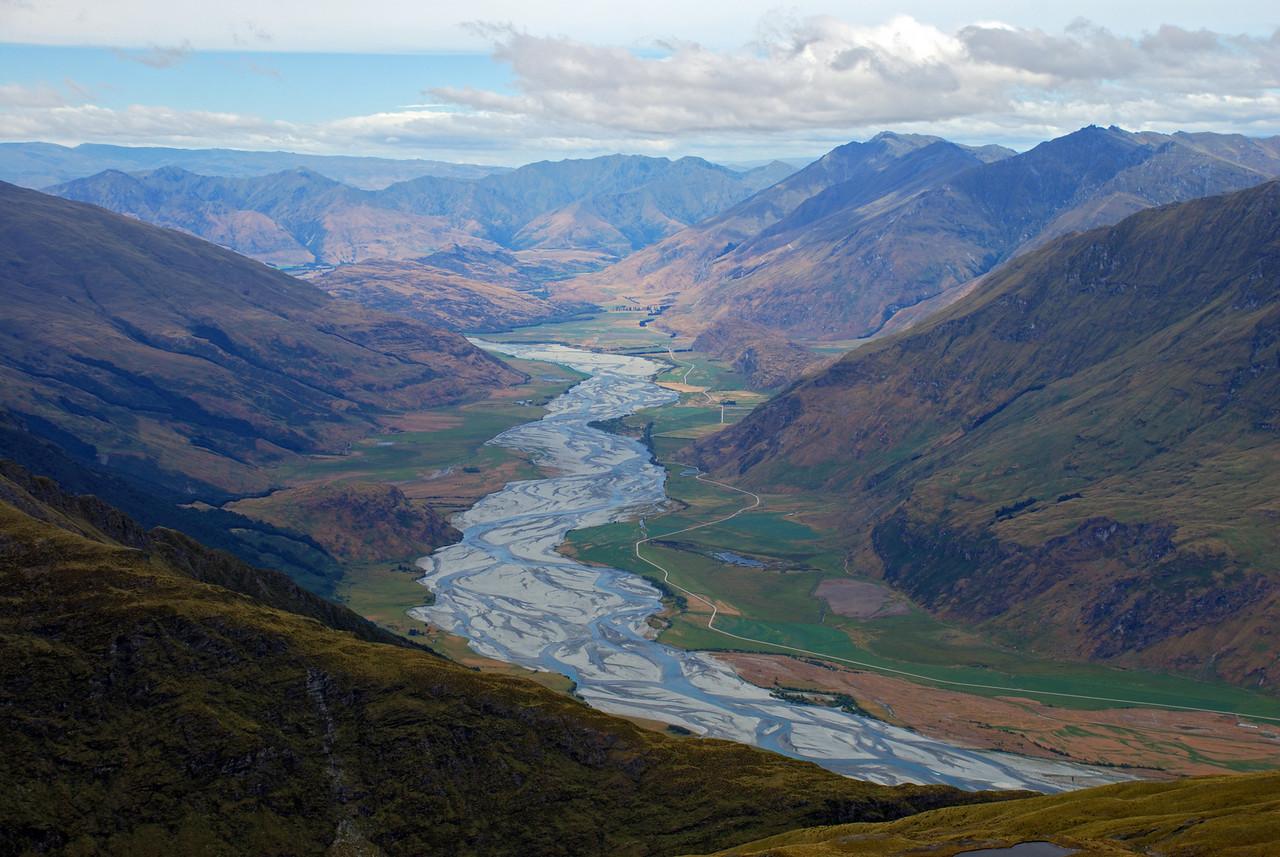 The Matukituki River from Mt Eostre