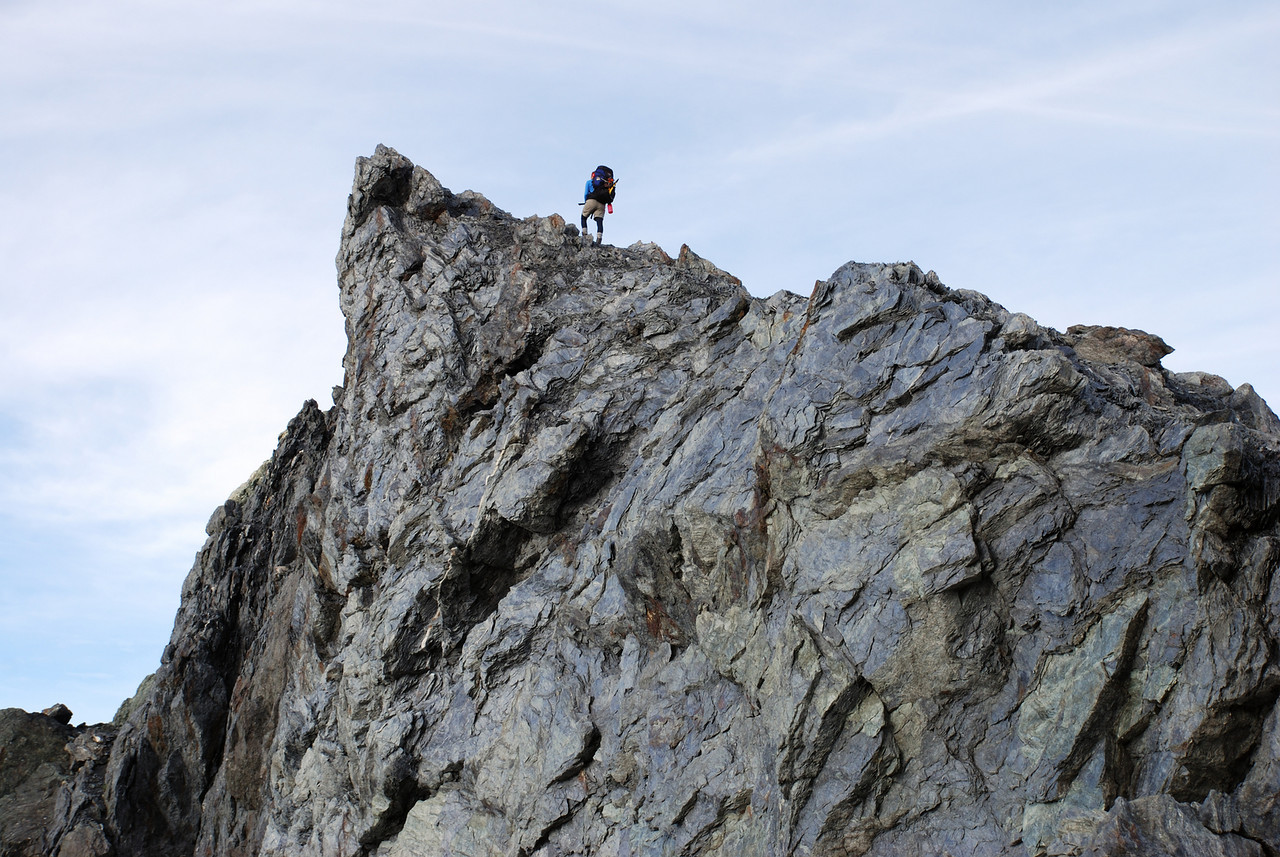 Nina approaching the summit of Dragonfly Peak