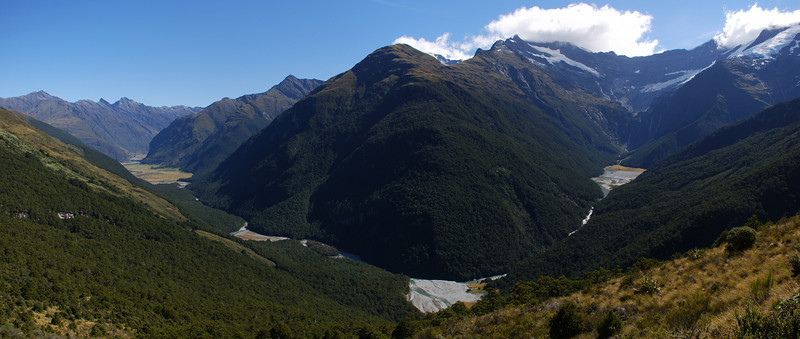 Looking into the lower East Matukituki and the Kitchener from the slopes below Albert Burn Saddle