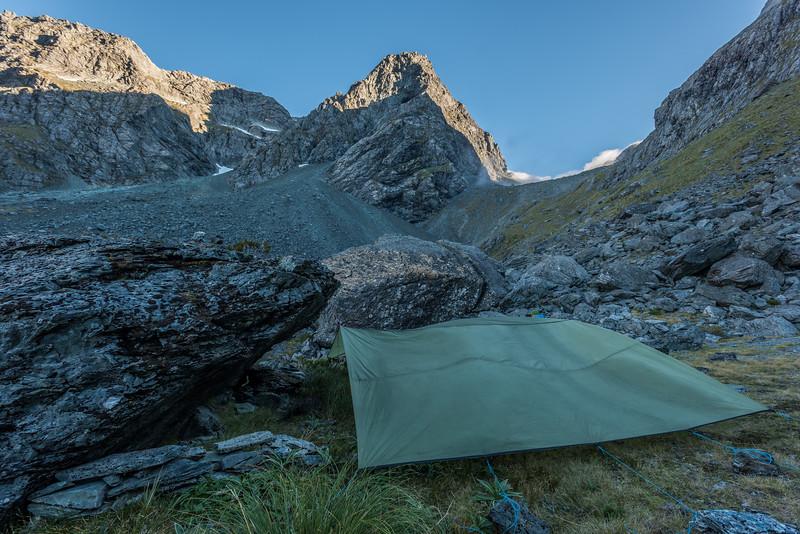 Campsite in the basin west of Emily Peak. F Knob above