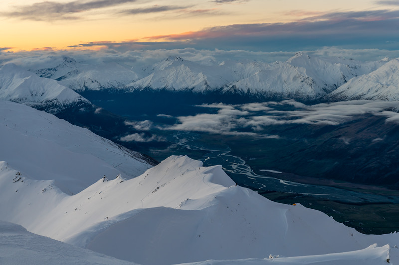 View from End Peak across the Matukituki River at dawn.