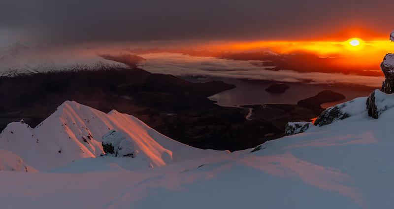 Sunrise on the summit of End Peak.