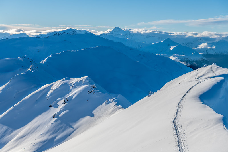 View from Pt 2010m, End Peak. Mount Aspiring is at centre image.