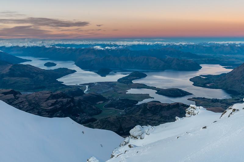 View of Lake Wanaka from End Peak at dawn.