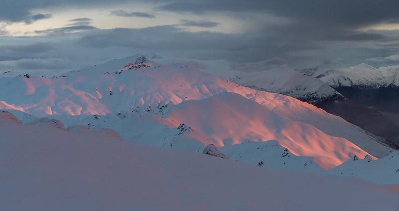 Sunrise on Treble Cone and Black Peak from the summit of End Peak.