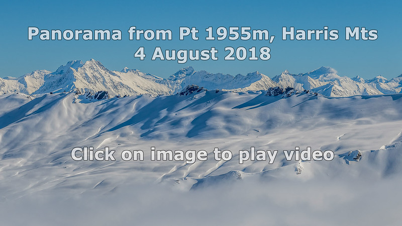 180 degree panorama from Pt 1955 between Treble Cone and End Peak, Harris Mountains. Click on image to play video.