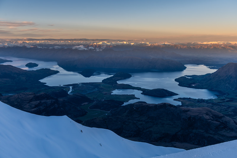 Sunset view of Lake Wanaka from the summit of End Peak.