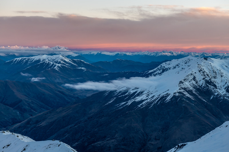 View south from End Peak at dusk. The Remarkables are in the far back, on the left.