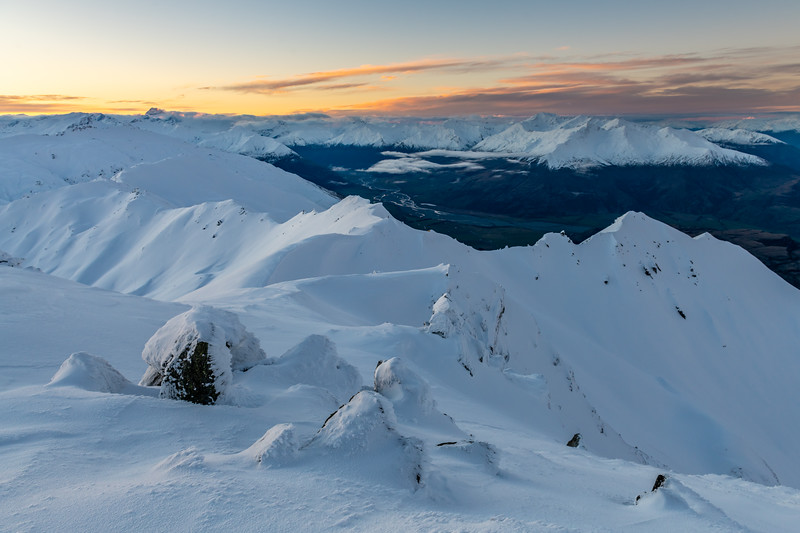 Looking back along the ridge to Treble Cone at dusk.