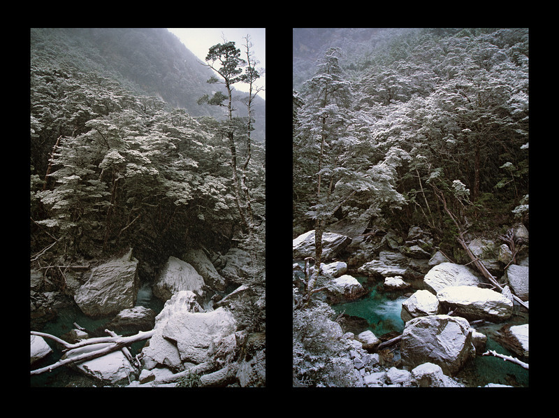 Snow fall on the Routeburn Track